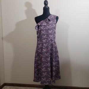 Banana Republic Factory Dresses - Banana Republic One Shoulder Bow Print Dress